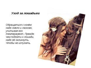 Обращаться с конём надо смело и ласково, учитывая его темперамент. Прежде чем