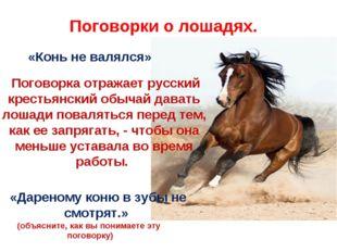 «Конь не валялся» Поговорка отражает русский крестьянский обычай давать лоша