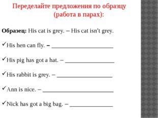 Переделайте предложения по образцу (работа в парах): Образец: His cat is grey
