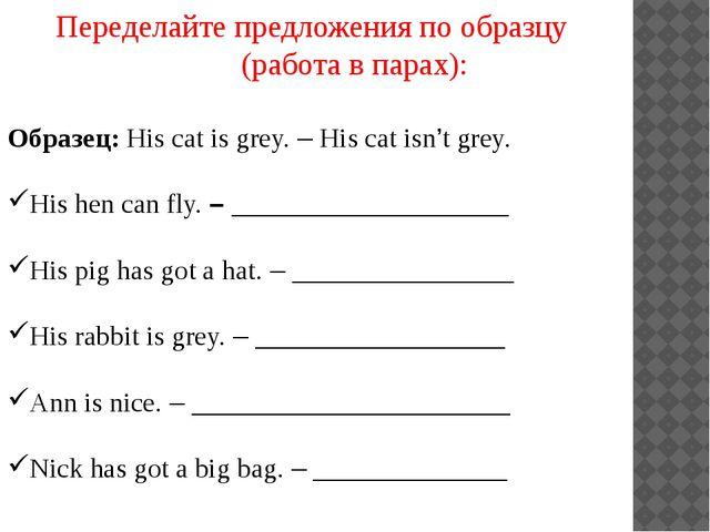 Переделайте предложения по образцу (работа в парах): Образец: His cat is grey...