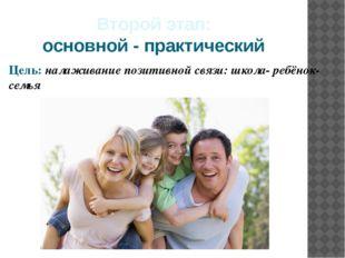 Второй этап: основной - практический Цель: налаживание позитивной связи: школ