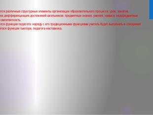 *Появляются различные структурные элементы организации образовательного проце