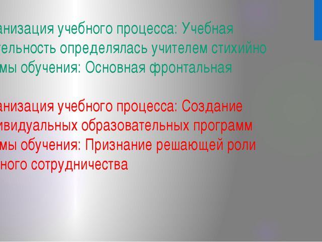 Организация учебного процесса: Учебная деятельность определялась учителем сти...