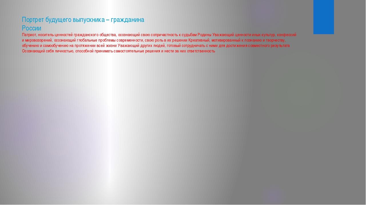 Портрет будущего выпускника – гражданина России Патриот, носитель ценностей г...