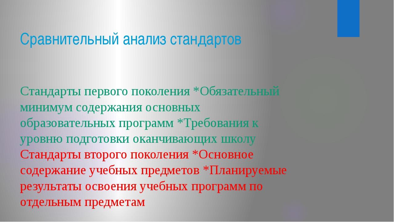 Сравнительный анализ стандартов Стандарты первого поколения *Обязательный мин...