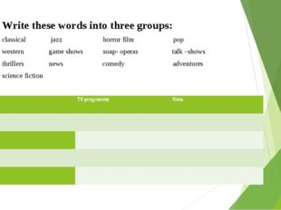 Write these words into three groups: classical jazz horror film pop western g