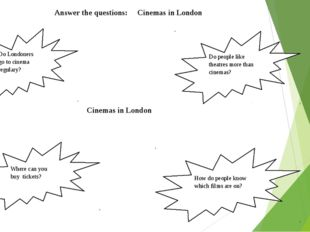Answer the questions: Cinemas in London Do Londoners go to cinema regulary?