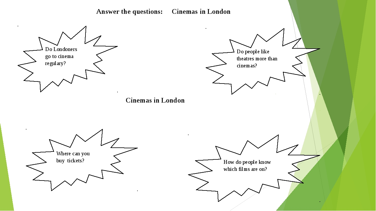Answer the questions: Cinemas in London Do Londoners go to cinema regulary?...
