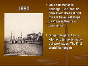 1880 On a commencé le sondage. Le tunnel de deux kilomètres est prêt mais le