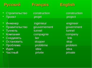 Русский Français English Строительство construction construction Проект proje