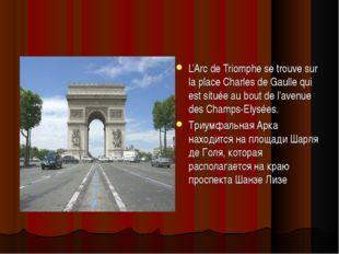 L'Arc de Triomphe se trouve sur la place Charles de Gaulle qui est située au