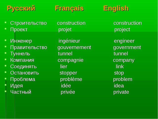 Русский Français English Строительство construction construction Проект proje...