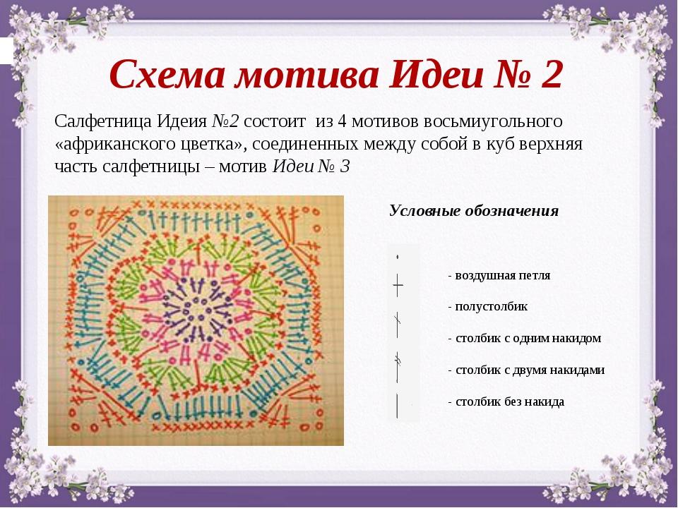Салфетница Идеия №2 состоит из 4 мотивов восьмиугольного «африканского цветка...