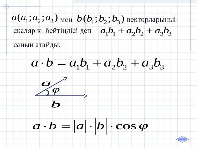 мен векторларының скаляр көбейтіндісі деп санын атайды.