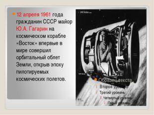 12 апреля 1961 года гражданин СССР майор Ю.А. Гагарин на космическом корабле