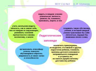 МОУ СШ №3 А. И. Шуваева Педагогические заповеди видеть в каждом ученике уника