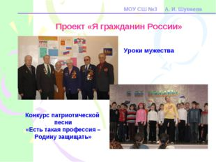 МОУ СШ №3 А. И. Шуваева Проект «Я гражданин России» Конкурс патриотической пе