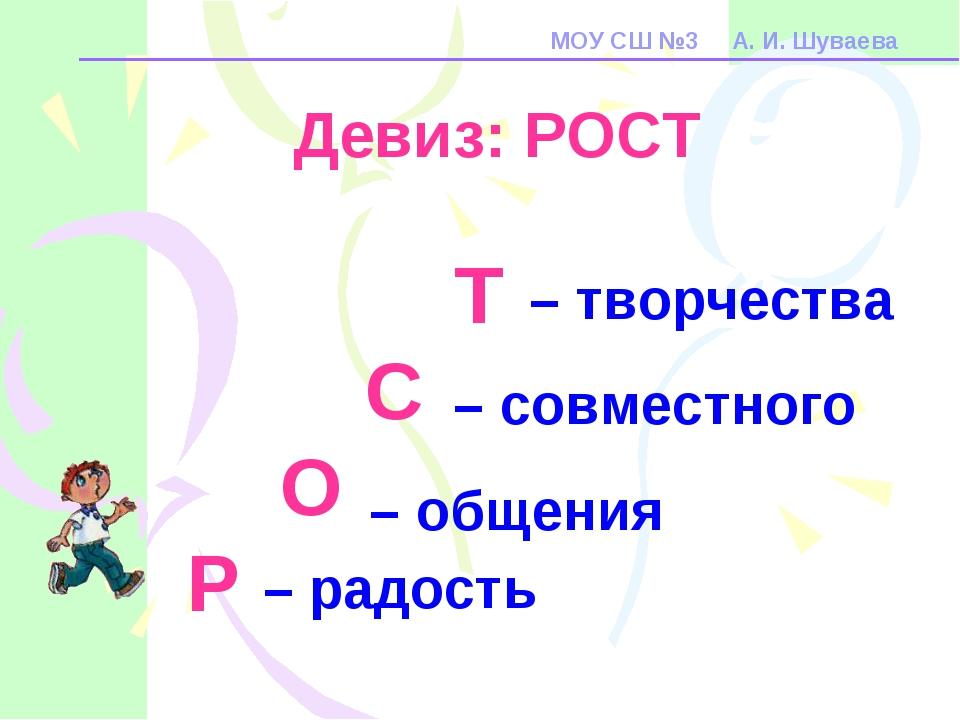 МОУ СШ №3 А. И. Шуваева – творчества – совместного – общения – радость Т С О...