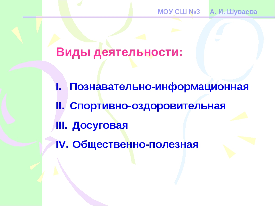 МОУ СШ №3 А. И. Шуваева Виды деятельности: Познавательно-информационная Спорт...
