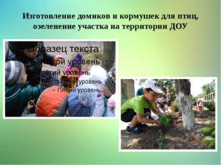Изготовление домиков и кормушек для птиц, озеленение участка на территории ДОУ