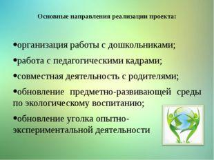 Основные направления реализации проекта: организация работы с дошкольниками;