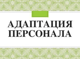 АДАПТАЦИЯ ПЕРСОНАЛА