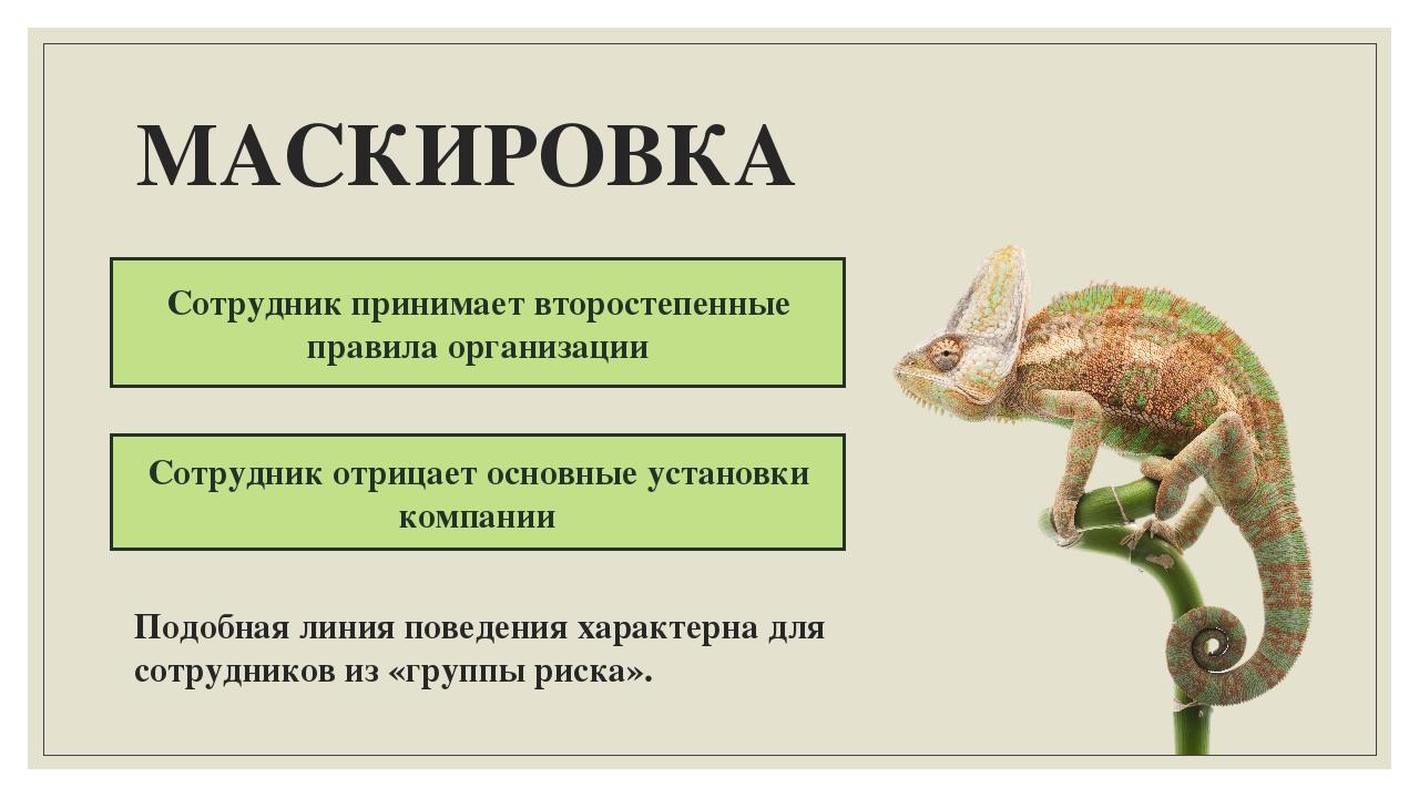МАСКИРОВКА Сотрудник принимает второстепенные правила организации Сотрудник о...