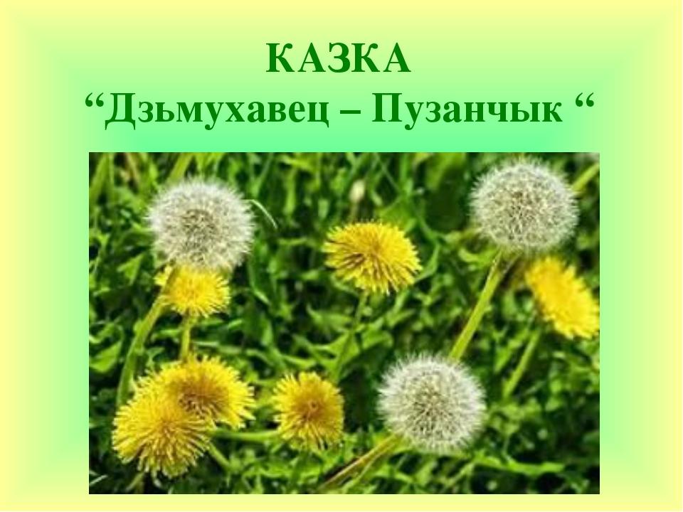 """КАЗКА """"Дзьмухавец – Пузанчык """""""