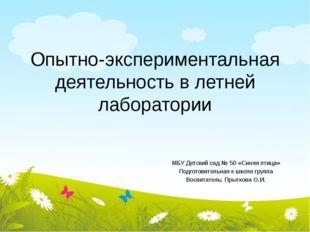 Опытно-экспериментальная деятельность в летней лаборатории МБУ Детский сад №