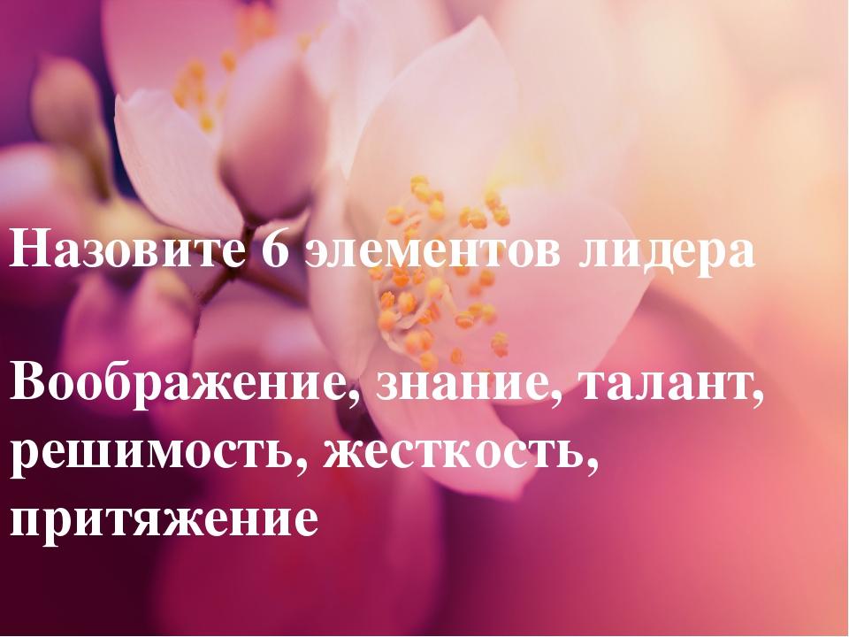 Назовите 6 элементов лидера Воображение, знание, талант, решимость, жесткость...