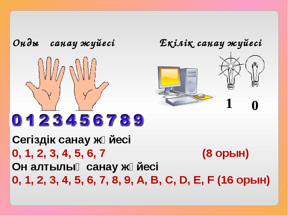 Ондық санау жүйесі Екілік санау жүйесі 1 0 Сегіздік санау жүйесі 0, 1, 2, 3,...