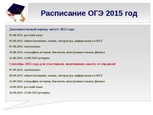 Расписание ОГЭ 2015 год Дополнительный период–август 2015 года 03.08.2015–рус