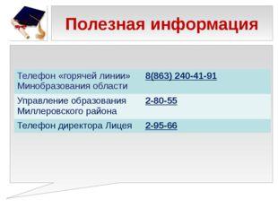 Полезная информация Телефон «горячей линии» Минобразования области 8(863) 240