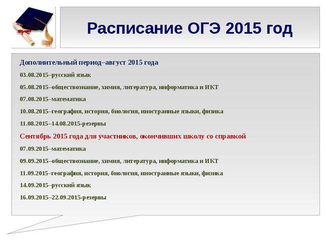 Расписание ОГЭ 2015 год Дополнительный период–август 2015 года 03.08.2015–рус...
