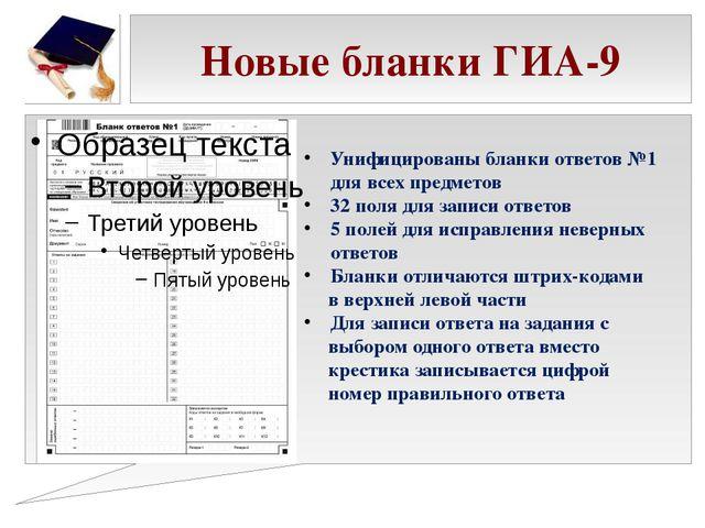 Новые бланки ГИА-9 Унифицированы бланки ответов №1 для всех предметов 32 поля...
