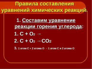Правила составления уравнений химических реакций. 1. Составим уравнение реакц