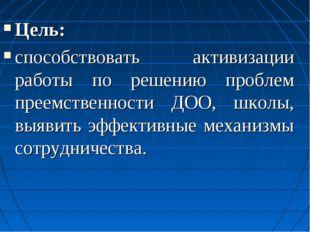 Цель: способствовать активизации работы по решению проблем преемственности ДО