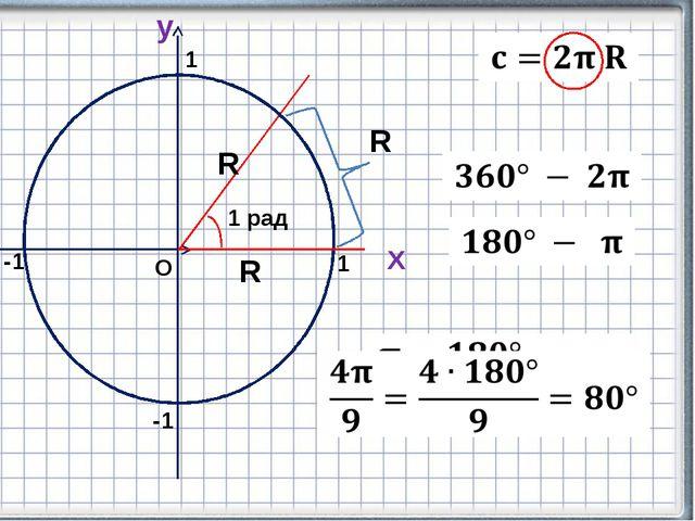 Х y О 1 -1 -1 1 R R R 1 рад