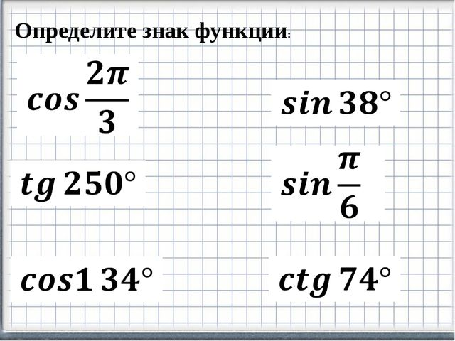 Определите знак функции: