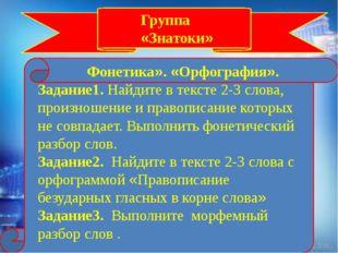 Группа «Знатоки» Фонетика». «Орфография». Задание1. Найдите в тексте 2-3 сло