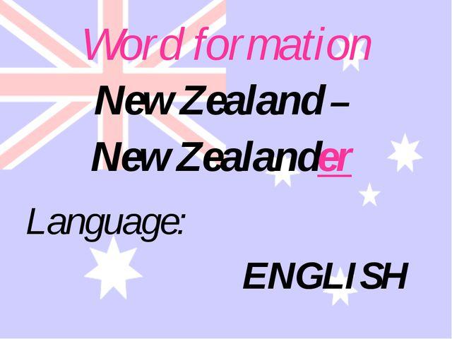 Word formation Language: ENGLISH New Zealand – New Zealander