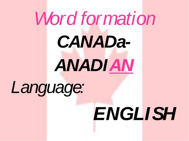 Word formation Language: ENGLISH CANADa- ANADIAN