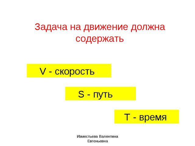 Задача на движение должна содержать V - скорость S - путь T - время Изместьев...