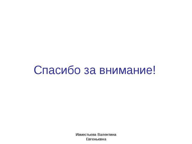 Спасибо за внимание! Изместьева Валентина Евгеньевна Изместьева Валентина Евг...