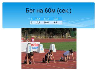 Бег на 60м (сек.) 1. 11,4 11,2 10,3 2. 10,9 10,6 9,6