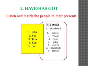 Listen and match the people to their presents. 2. HAVE/HAS GOT skateboard ca