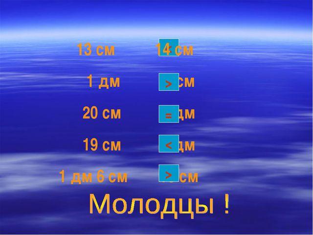 < 13 см 14 см 1 дм 9 см 20 см 2 дм 19 см 2 дм 1 дм 6 см 10 см = < > >
