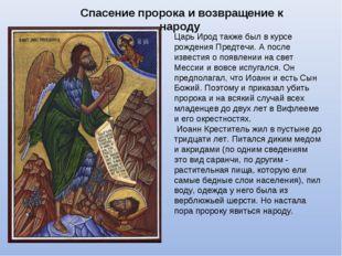 Спасение пророка и возвращение к народу Царь Ирод также был в курсе рождения