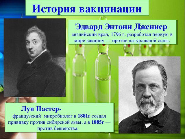 Эдвард Энтони Дженнер английский врач, 1796 г. разработал первую в мире вакци...