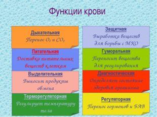 Функции крови Дыхательная Перенос О2 и СО2 Питательная Доставка питательных в